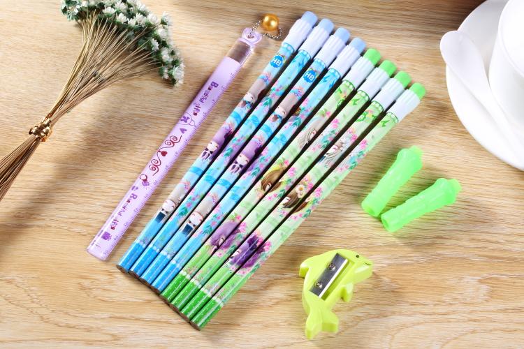 【文匠墨语】思牧sm7001花花姑娘铅笔组合套装可爱卡通学生hb铅笔握笔