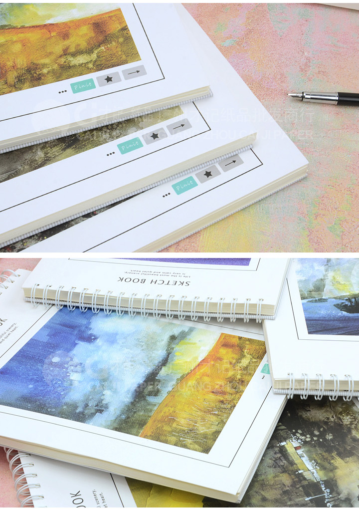 才记纸品 520 风景册 8k速写本 上翻线圈素描本 批发 涂鸦 绘画